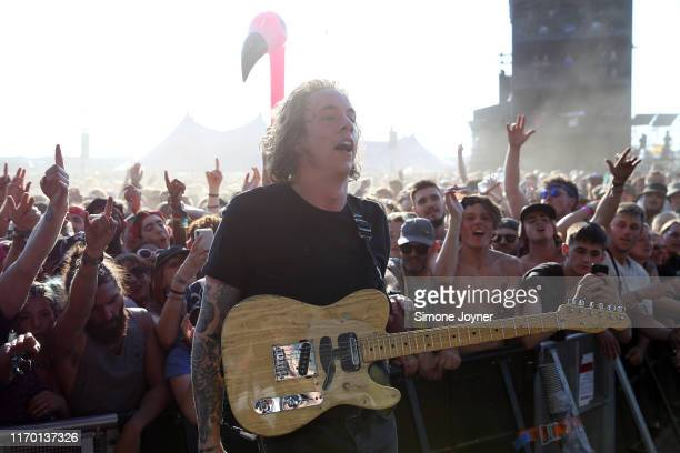 Dean Richardson of Frank Carter The Rattlesnakes performs live on the Main Stage during day three of Reading Festival 2019 at Richfield Avenue on...