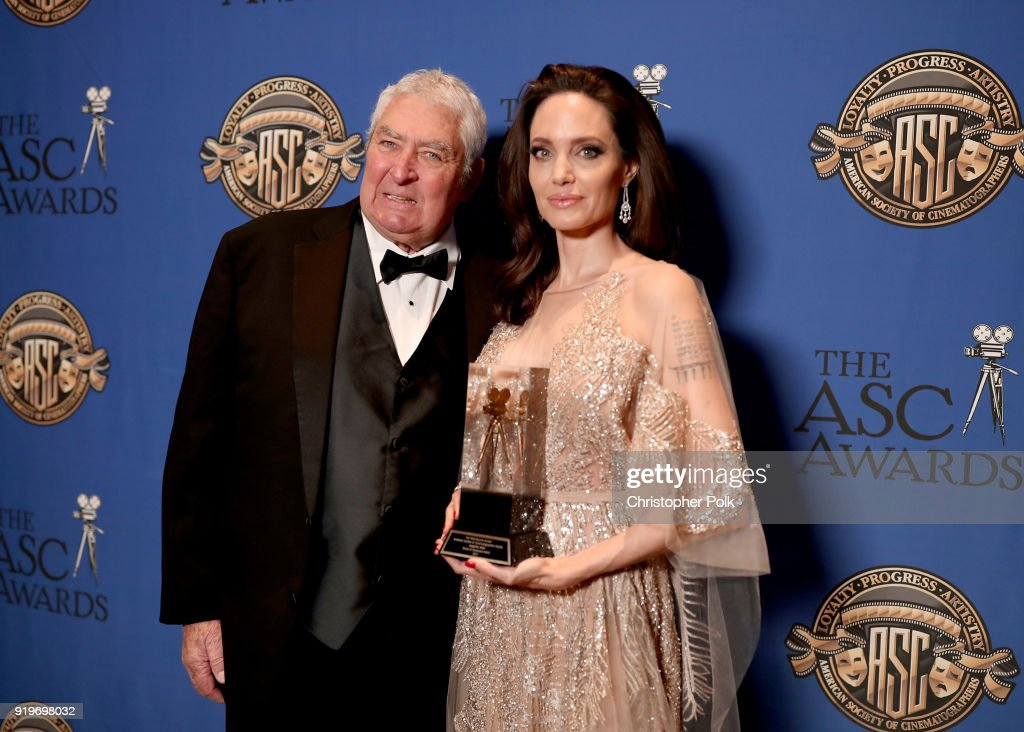 Dean Semler presents the Board of Governors award to Angelina Jolie during the 32nd Annual American Society Of Cinematographers Awards at The Ray Dolby Ballroom at Hollywood & Highland Center on February 17, 2018 in Hollywood, California.