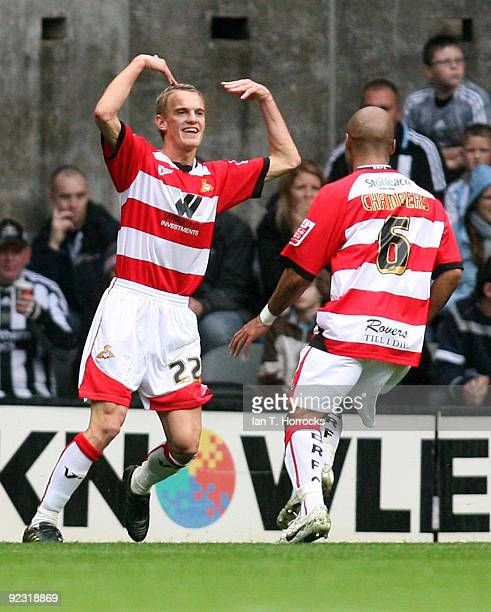 Dean Shiels celebrates scoring the first goal during the CocaCola Championship match between Newcastle United and Doncaster Rovers at St James' Park...