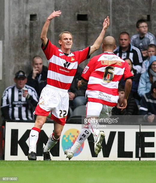 Dean Shiels celebrates scoring the first goal during the CocaCola League Championship match between Newcastle United and Doncaster Rovers at St...