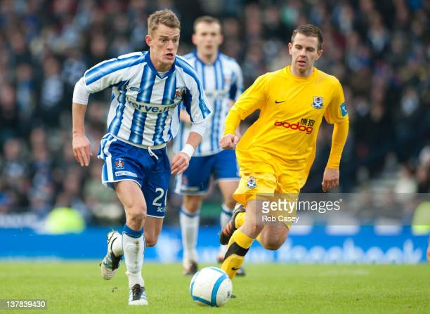 Dean Shiels of Kilmarnock in action during the Scottish Communities Cup Semi Final match between Ayr United and Kilmarnock at Hampden Park on January...