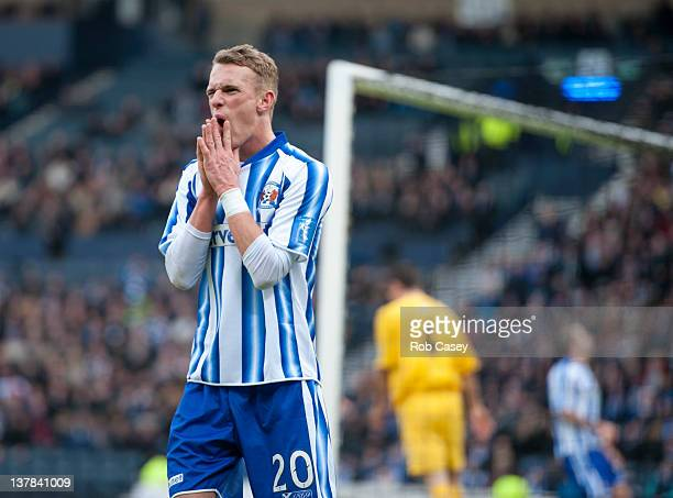 Dean Shiels of Kilmarnock reacts after missing a chance on goal during the Scottish Communities Cup Semi Final match between Ayr United and...