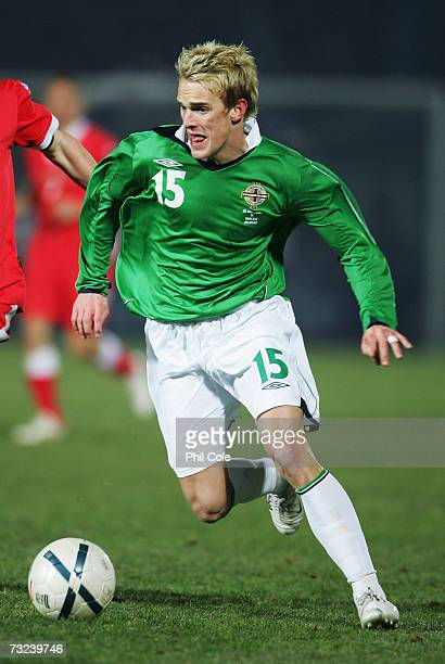 Dean Shiels of Northern Ireland in action during an International Friendly match between Northern Ireland and Wales at Windsor Park on February 06...