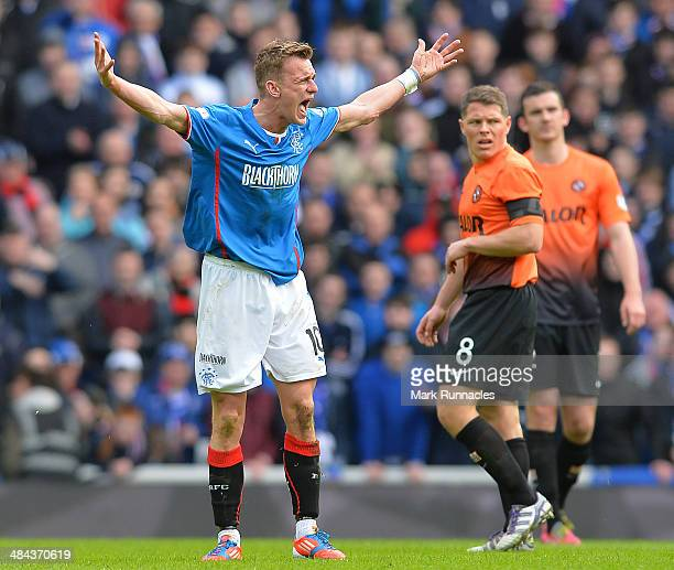 Dean Shiels of Rangers reacts during the William Hill Scottish Cup Semi Final between Rangers and Dundee United at Ibrox Stadium on April 12 2014 in...