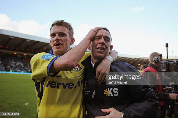 Dean Shiels with his father and manager Kenny Shiels Kilmarnock during the Scottish Communities League Cup Final between Celtic and Kilmarnock at...