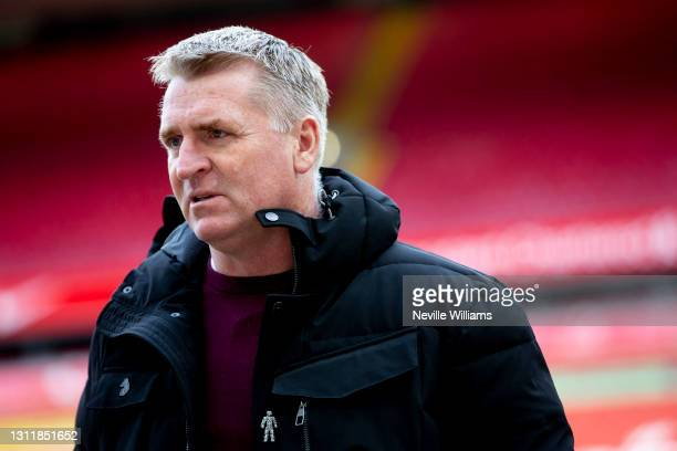 Dean Smith head coach of Aston after the Premier League match between Liverpool and Aston Villa at Anfield on April 10, 2021 in Liverpool, England....