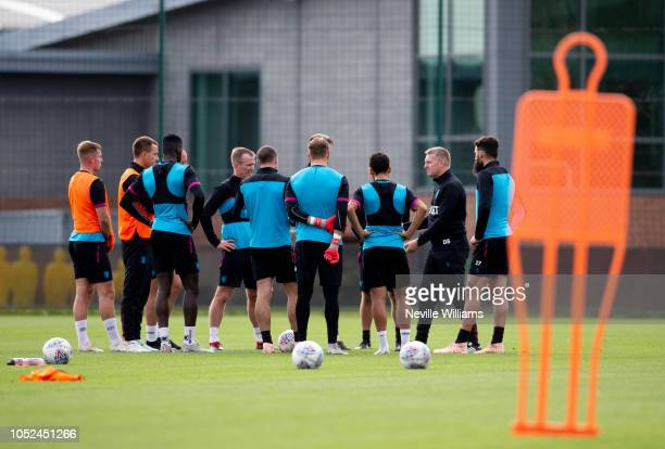 Dean Smith head coach of Aston Villa in action during a training session at the club's training ground at Bodymoor Heath on October 18 2018 in...