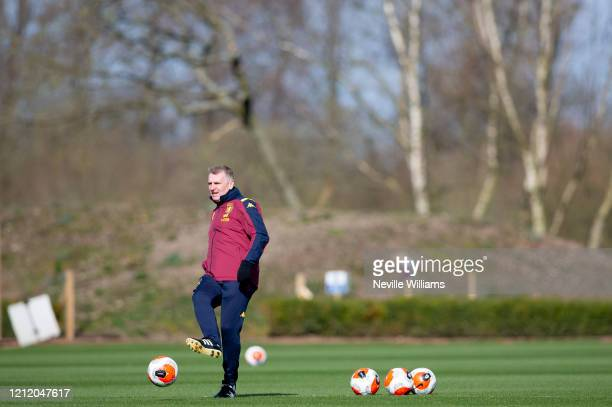 Dean Smith head coach of Aston Villa in action during a training session at Bodymoor Heath training ground on March 12 2020 in Birmingham England