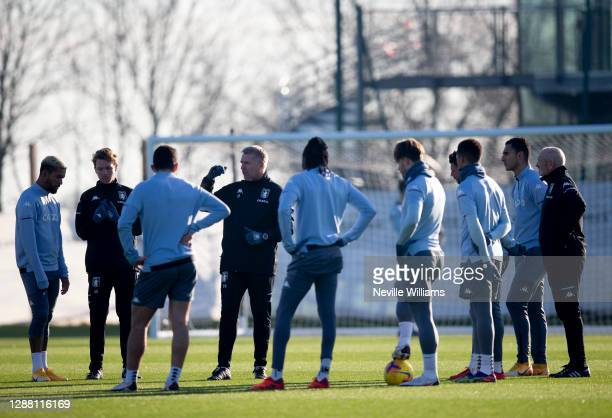 Dean Smith head coach of Aston Villa in action during a training session at Bodymoor Heath training ground on November 26 2020 in Birmingham England
