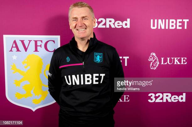 Dean Smith head coach of Aston Villa poses for a picture at the club's training ground at Bodymoor Heath on October 15 2018 in Birmingham England