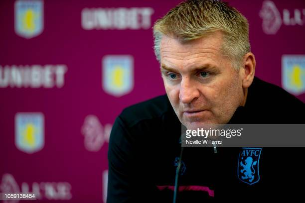 Dean Smith head coach of Aston Villa talks to the press during a press conference at the club's training ground at Bodymoor Heath on November 08 2018...