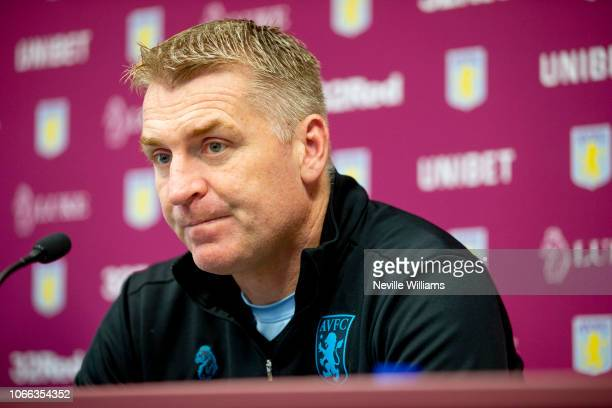 Dean Smith head coach of Aston Villa talks to the press during a press conference at the club's training ground at Bodymoor Heath on November 29 2018...