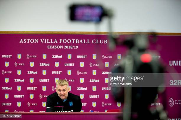 Dean Smith head coach of Aston Villa talks to the press during a press conference at Bodymoor Heath training ground on December 05 2018 in Birmingham...