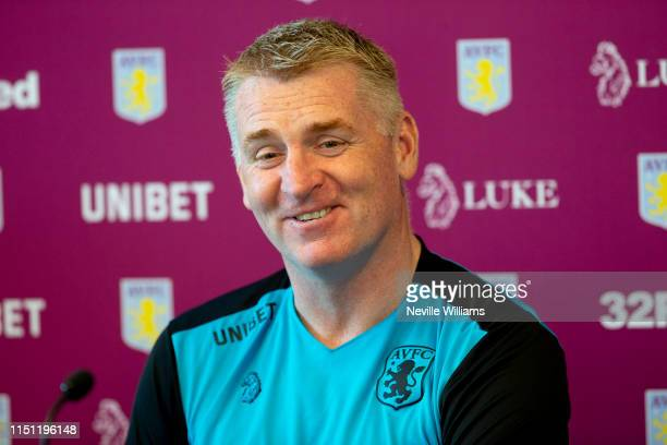 Dean Smith head coach of Aston Villa talks to the press during a press conference at Aston Villa's Bodymoor Heath training ground on May 23 2019 in...