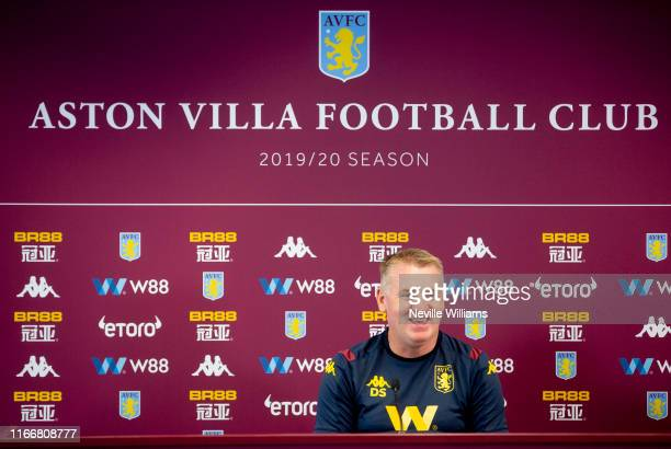 Dean Smith head coach of Aston Villa talks to the press during a press conference at the Aston Villa Bodymoor Heath training ground on August 08 2019...