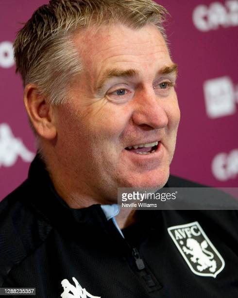 Dean Smith head coach of Aston Villa talks to the press during a press conference at Bodymoor Heath training ground on November 28 2020 in Birmingham...