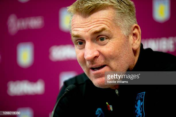 Dean Smith head coach of Aston Villa talks to the press during press conference at the club's training ground at Bodymoor Heath on November 01 2018...