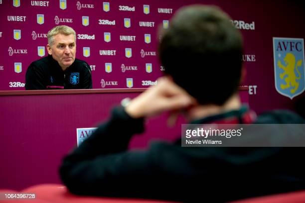 Dean Smith head coach of Aston Villa talks to the press during press conference at the club's training ground at Bodymoor Heath on November 23 2018...