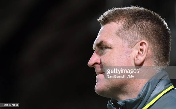 Dean Smith manager / head coach of Brentford during the Sky Bet Championship match between Brentford and Wolverhampton Wanderers at Griffin Park on...