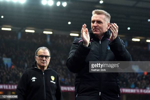 Dean Smith Manager of Aston Villa and Marcelo Bielsa Manager of Leeds United during the Sky Bet Championship match between Aston Villa and Leeds...