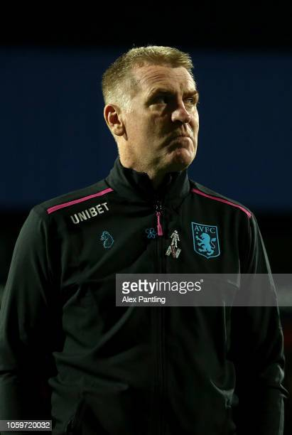 Dean Smith Manager of Aston Villa arrives at the stadium prior to the Sky Bet Championship match between Queens Park Rangers and Aston Villa at...