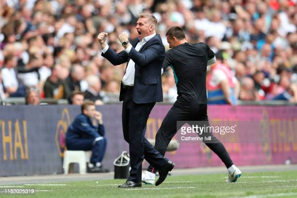 Dean Smith Manager of Aston Villa celebrates after Anwar El Ghazi of Aston Villa scores his sides first goal during the Sky Bet Championship Playoff...