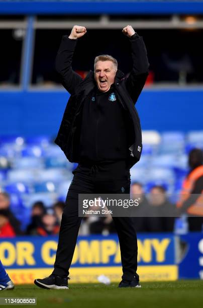 Dean Smith manager of Aston Villa celebrates at fulltime during the Sky Bet Championship match between Birmingham City v Aston Villa at St Andrew's...