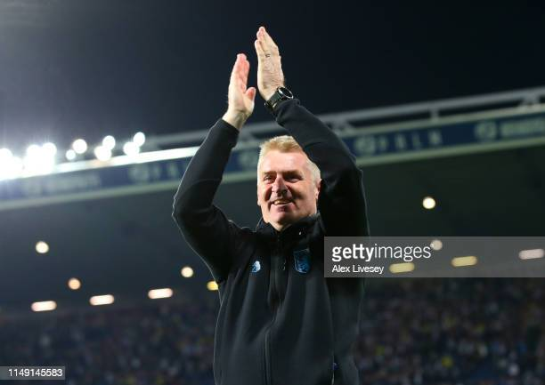 Dean Smith Manager of Aston Villa celebrates victory in the penalty shoot out after the Sky Bet Championship Playoff semi final second leg match...