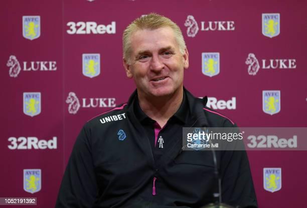 Dean Smith manager of Aston Villa during a press conference at Villa Park Stadium on October 15 2018 in Birmingham England
