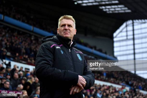 Dean Smith Manager of Aston Villa during the Sky Bet Championship match between Aston Villa and Leeds United at Villa Park on December 23 2018 in...