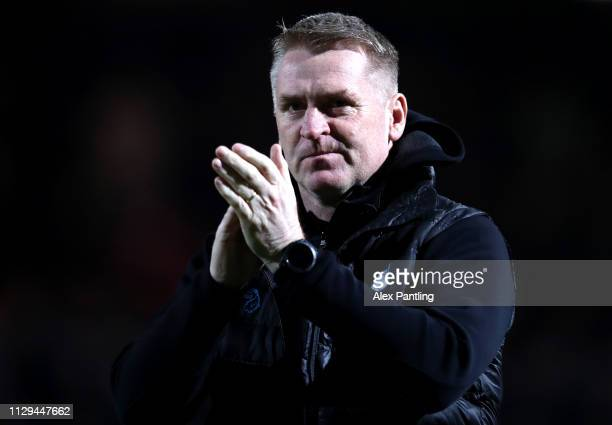 Dean Smith Manager of Aston Villa during the Sky Bet Championship match between Brentford and Aston Villa at Griffin Park on February 13 2019 in...