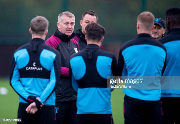 Dean Smith manager of Aston Villa in action during a training session at the club's training ground at Bodymoor Heath on October 16 2018 in...