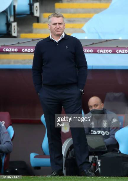 Dean Smith, Manager of Aston Villa looks on during the Premier League match between Aston Villa and Fulham at Villa Park on April 04, 2021 in...