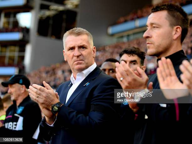Dean Smith Manager of Aston Villa looks on during the Sky Bet Championship match between Aston Villa and Swansea City at Villa Park on October 20...