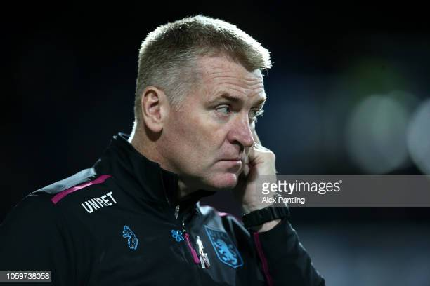 Dean Smith Manager of Aston Villa looks on during the Sky Bet Championship match between Queens Park Rangers and Aston Villa at Loftus Road on...
