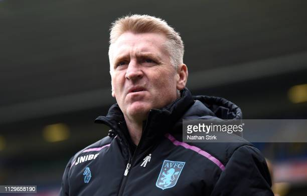 Dean Smith manager of Aston Villa looks on during the Sky Bet Championship match between Birmingham City v Aston Villa at St Andrew's Trillion Trophy...