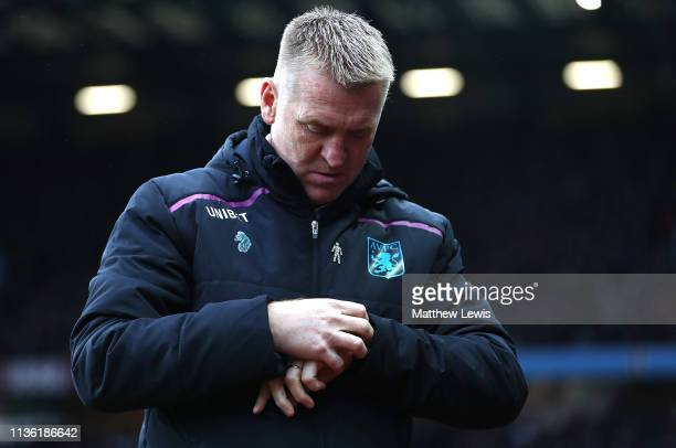 Dean Smith manager of Aston Villa looks on during the Sky Bet Championship match between Aston Villa and Middlesbrough at Villa Park on March 16 2019...