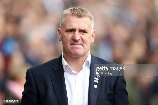 Dean Smith Manager of Aston Villa looks on prior to the Sky Bet Championship Playoff semi final first leg match between Aston Villa and West Bromwich...