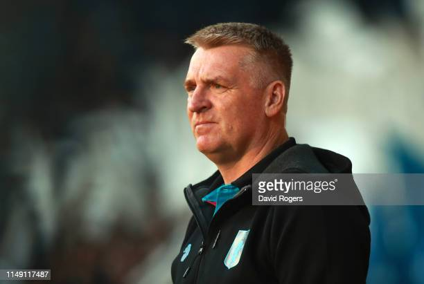 Dean Smith Manager of Aston Villa looks on prior to the Sky Bet Championship Playoff semi final second leg match between West Bromwich Albion and...