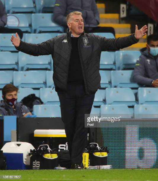 Dean Smith Manager of Aston Villa reacts during the Premier League match between Aston Villa and Leeds United at Villa Park on October 23 2020 in...