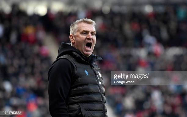 Dean Smith manager of Aston Villa reacts during the Sky Bet Championship match between Rotherham United and Aston Villa at The New York Stadium on...