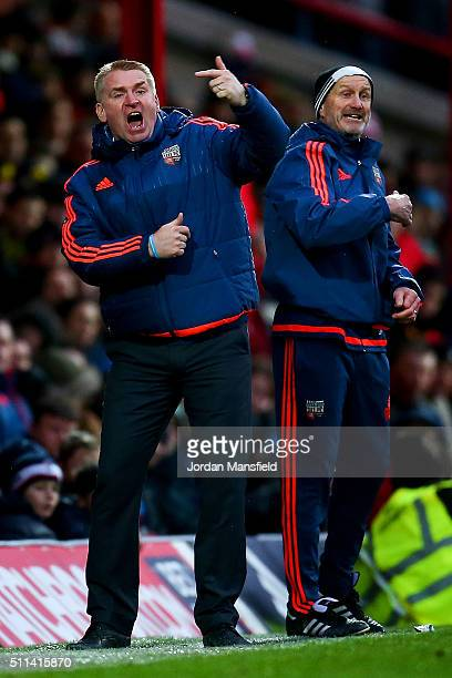 Dean Smith manager of Brentford gestures during the Sky Bet Championship match between Brentford and Derby County at Griffin Park on February 20 2016...