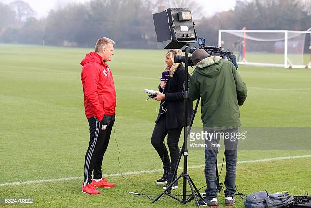 Dean Smith Manager of Brentford is interviewed during a Brentford training session at Brentford Training Ground on January 23 2017 in Brentford...