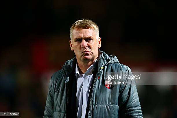 Dean Smith manager of Brentford looks on before the Sky Bet Championship match between Brentford and Fulham at Griffin Park on November 4 2016 in...