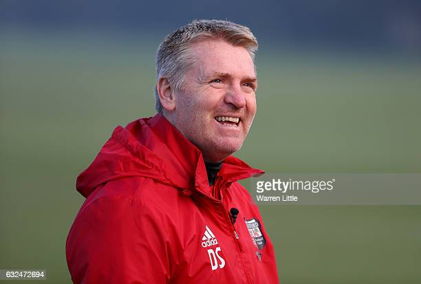 Dean Smith Manager of Brentford looks on during a Brentford training session at Brentford Training Ground on January 23 2017 in Brentford England...