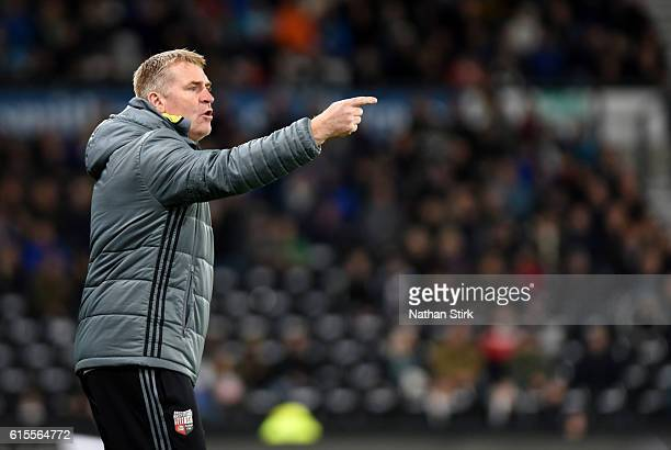 Dean Smith manager of Brentford looks on during the Sky Bet Championship match between Derby County and Brentford at iPro Stadium on October 18 2016...
