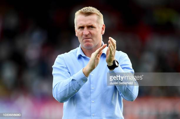 Dean Smith Manager of Brentford reacts during the Sky Bet Championship match between Brentford and Wigan on September 15 2018 in Brentford England