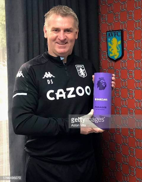 Dean Smith of Aston Villa poses with his Premier League Manager of the Month Award for December 2020 on January 15, 2021 in Birmingham, England.