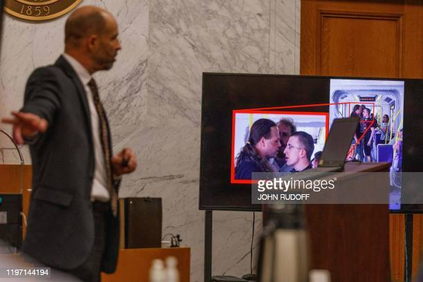 Dean Smith opens the defense argument in the murder trial of Jeremy Christian on January 28 2020 in Portland Oregon Christian is accused of killing...