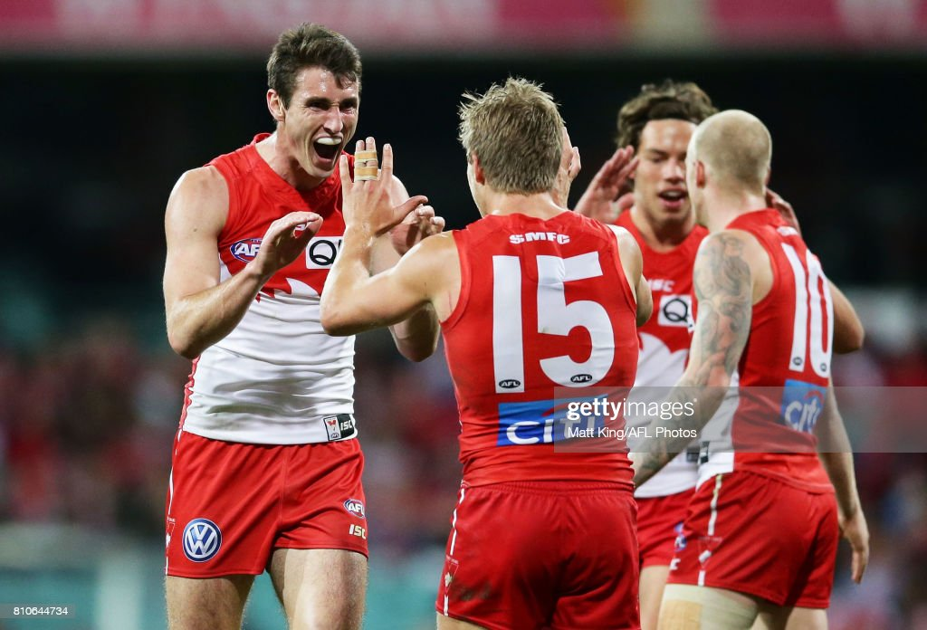 Dean Towers of the Swans celebrates with team mates after kicking a goal during the round 16 AFL match between the Sydney Swans and the Gold Coast Suns at Sydney Cricket Ground on July 8, 2017 in Sydney, Australia.